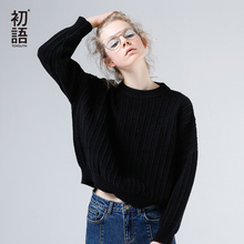 Toyouth Pullover Sweater 2017 Autumn Women Solid Color Loose O-Neck Straight Long Sleeve Short Knitted Sweaters(China)