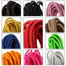 5m/lot 11 Colors Dia 6mm Round Braided PU Leather Cord Rope Thread Necklace Bracelet for DIY Jewelry Material Findings F2023(China)