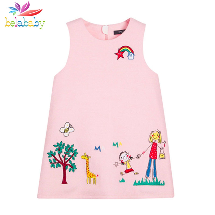 Belababy Sleeveless Girls Prinesss Dress Summer Fashion Cartoon Giraffe Graffiti Kids Dresses Girl Party Dress Costume<br><br>Aliexpress