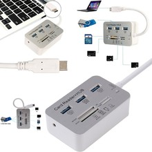 Computer Accessories 7 in1 USB3.1 Type-C to USB 3.0 HUB MS/M2/SD/TF Card Reader Hub