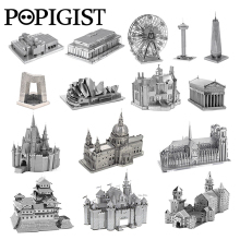 POPIGIST 3D Metal Puzzle Building DIY Spinner Adult  kids Model Toys Jigsaw Tower Castle  Earth Famous Architecture Anti Stress