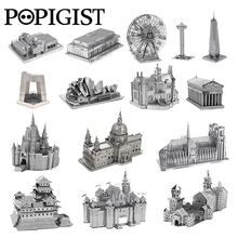 POPIGIST 3D Metal Puzzle Building DIY Spinner Adult kids Model Toys Jigsaw Tower Castle Earth Famous Architecture Anti Stress(China)