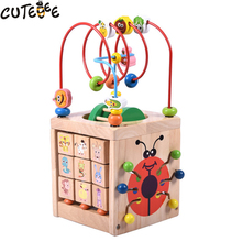 Cutebee Wooden Toys for Children Montessori Math Toy Puzzle Cube Multi Function Educational Teaching Aid for Kids Baby Toys(China)