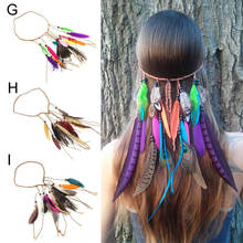 New Indian Peacock Feather Braided Headband Boho Handmade Weaving Hairband Bohemian Party Head Bands Accessories for Women
