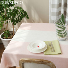 DUNXDECO Tablecloth Linen Cotton Blend Table Cover Fabric Midsummer Night Dream Pink Blue Stripe Romantic Party Decoration