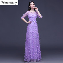 Princessally Evening Dresses Lavender Sheer Half Sleeves Appliques Flower Vestido Longo Formal Prom Evening Party Gown Cheap