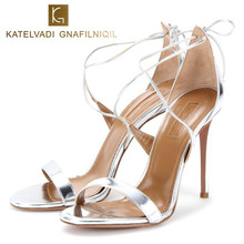 Brand Sandals Women 10CM High Heels Silver Summer Shoes Sexy Lace Up Sandals Women Patent Leather Ladies Sandals Woman K-023