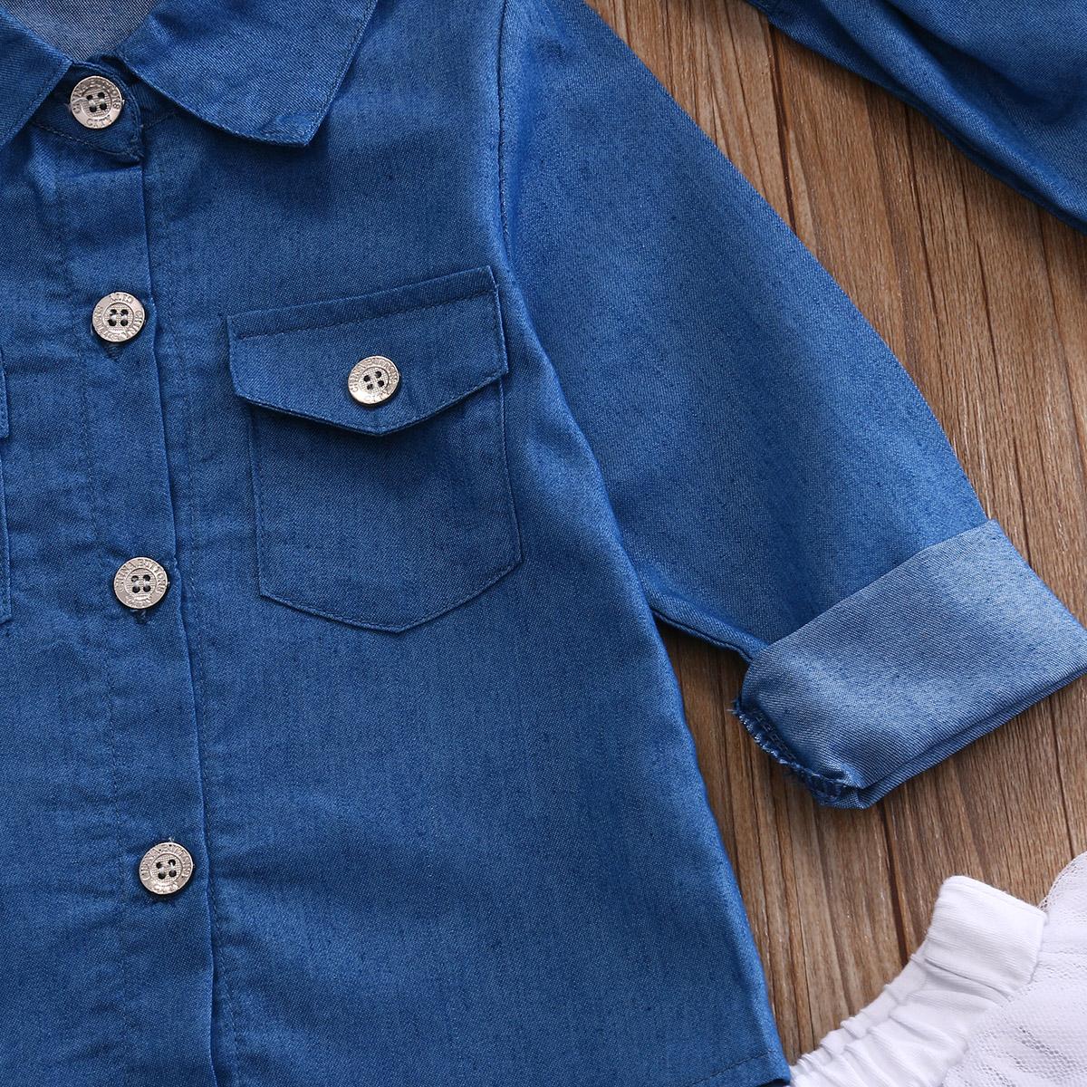 0-5a enfant nouveau enfants bébé filles infantile à manches longues denim tops shirt + tutu jupes dress + bandeau 3 pcs jeans tenues vêtements set 8