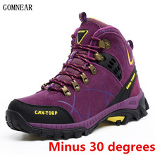 GOMNEAR New Arrival Winter Women's Warm Real Wool Hiking Shoes Outdoor Antiskid Winter Trekking Sport Shoes Hiking Sneakers(China)