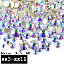 1 Pack Top Super Shining Crystal AB Color Mixed (SS3-SS16) Charm Nail Art Rhinestones Decorations Golden Flatback 3d Nail Tools(China)