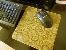 1 PCS 22*2cm Chinese Style Handmade Vintage Silk Brocade Rubber Yellow Mouse Pads Mat(China)