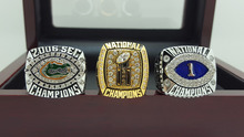ONE SET 3 PCS 2006 FLORIDA GATORS SEC BCS AND NCAA FOOTBALL National Championship Ring 7-15 Size  Engraved Inside
