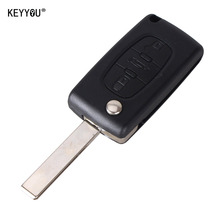 KEYYOU 3 Buttons Flip Remote Key Shell Car Keys Blank Cover For Citroen (Blade With Groove) CE0523 Type with LOGO