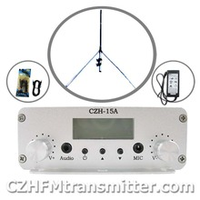 CZH-15A 15W CZE-15A FM stereo PLL broadcast transmitter+GP antenna kit free shipping
