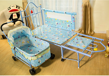 European Baby Cribs Newborn Children's Feet Iron Bb Bed Multifunctional Trolley Sleeping Basket With Roller Baby Cradle Bed