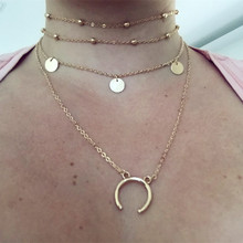 New Fashion Crescent Moon Necklace Women Horn Chokers Necklace Multilayer Satellite Chain Chocker Boho Statement jewelry Collier(China)