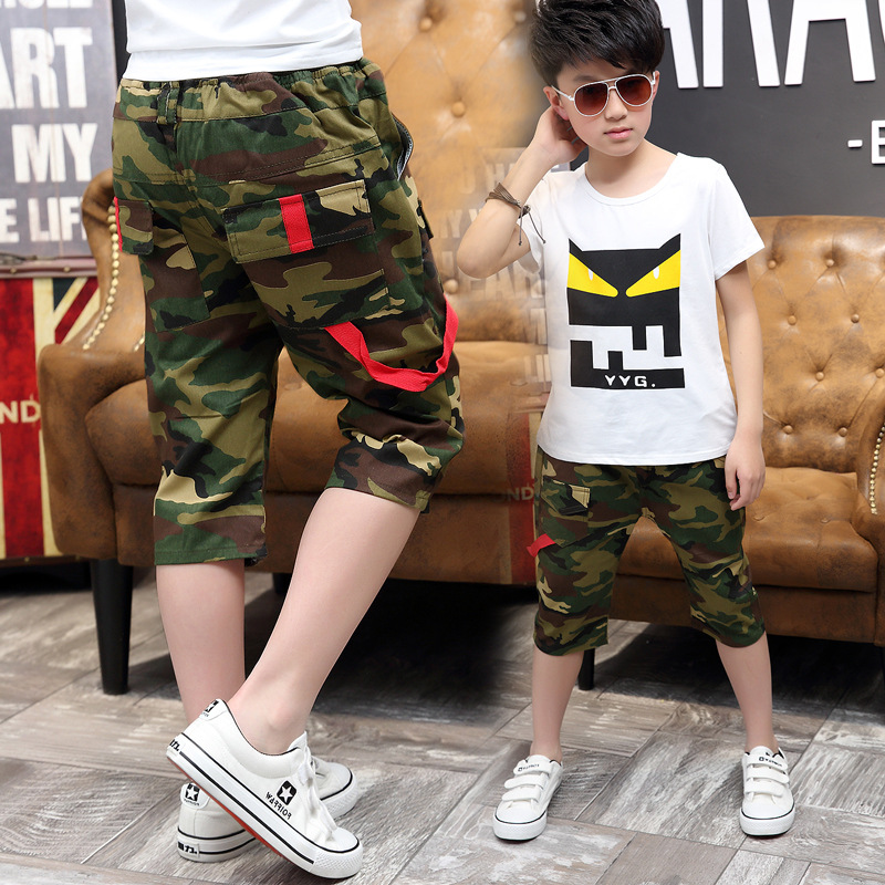 Hot Sale Boys Capris Pants For Summer Camouflage Patterns Calf Knee Lengh Short Pants For Big Boys Elastic Waist Band Trousers(China)