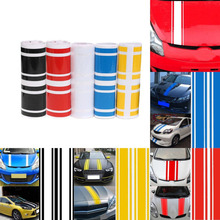 180*8CM Car Stickers Adhensive And Durable For Vehicle Hoods Classical Stripes Eye-pleasing Vinyl Strong Viscosity(China)
