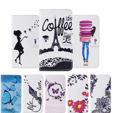 For huawei P8 lite 2017 leather cases book style Phone bags For Huawe P8 lite 2017 Flip Cover wallet cases Girl Eiffel Tower(China)