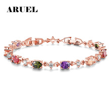 ARUEL Fashion Rose Gold Color Chain Link Bracelets & Bangles For Women AAA Cubic Zirconia Crystal Wedding Jewelry Brithday Gifts