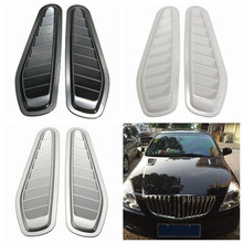 1 Pair Car Auto Decorative Air Flow Intake Scoop Turbo Bonnet Vent Cover Hood For Fender Black /White /Grey Car Styling(China)