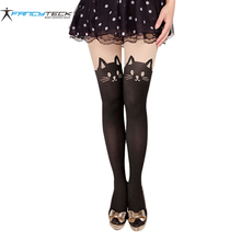 Cats Pantyhose Sexy Stockings Female Cute Cat Tail Stockings Leggings Female Nylon Stockings Women Long Sexy Hosiery(China)