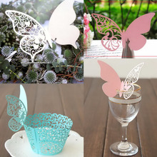50Pcs/lot Table Place Cards Wine Glass Laser Cut Butterfly Mark Name for Wedding Party Decor Product