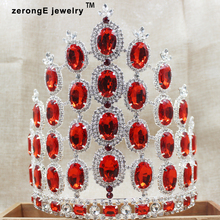 zerongE jewelry7.8inch Amazing large tall Pageant Crown  fashion red Austrian Rhinestones carnival Headband tiara crown