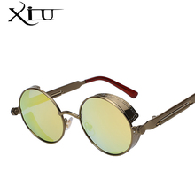 XIU Gothic Sunglasses POLARIZED Men Steampunk Round Metal Frame Sun Glasses Eyewear Brand Designer High Quality UV400
