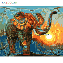 Frameless Pictures Painting By Numbers DIY Digital Oil Painting On Canvas Home Decor Wall Art Abstract Oil Painting Elephant(China)
