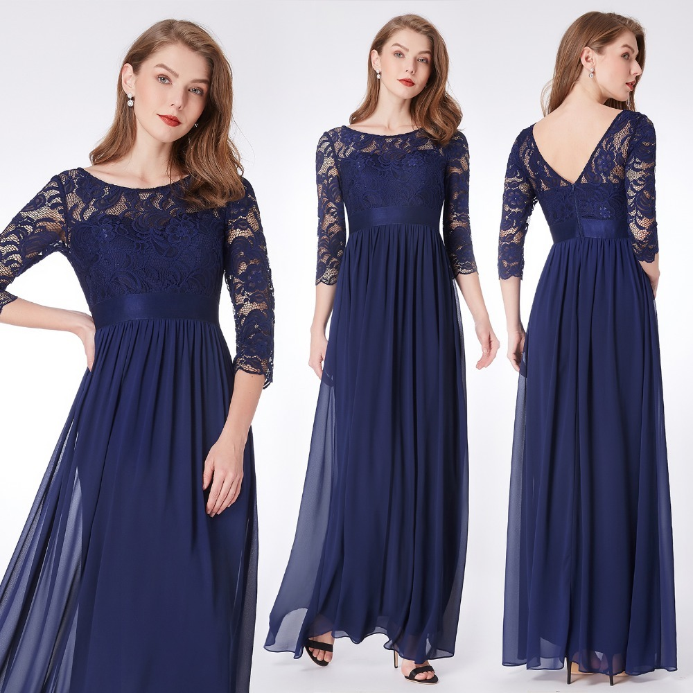 Navy Blue Bridesmaid Dresses Ever Pretty Lace Long Sleeve V Back Long Autumn Winter Burgundy Bridesmaid Dresses for Wedding (China)