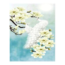White Peacock Orchid Animals Mosaic Diamond Embroidery Square Rhinestone Diamond Painting Crystal Cross Stitch Decorative