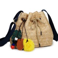 2017 Beach bag straw totes bag bucket summer bags Women Grass Handbag Durable Ladies Tote Ocean Women Bags