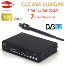 Freesat V8 Super DVB-S2 Satellite TV Receiver with 1 Year Europe Cccam 7 clines 1080P Italy Spain Arabic Cccam server + USB Wifi