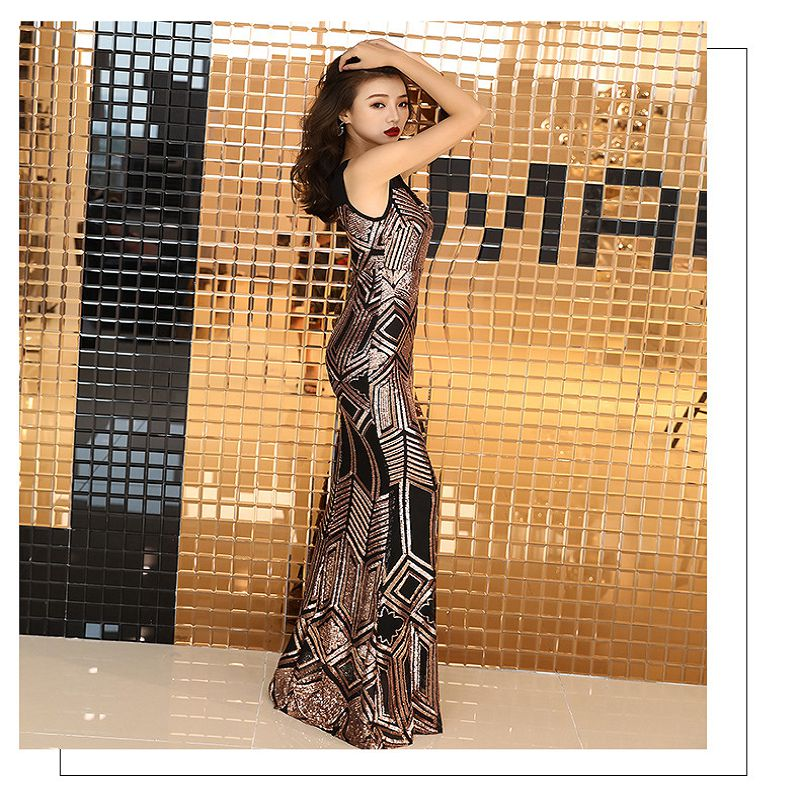 2019 Long Mermaid Evening Party Dress Medium Sleeve Sexy Sequins Prom Gowns Round Neck Tulle Bead Formal Dress For Wedding