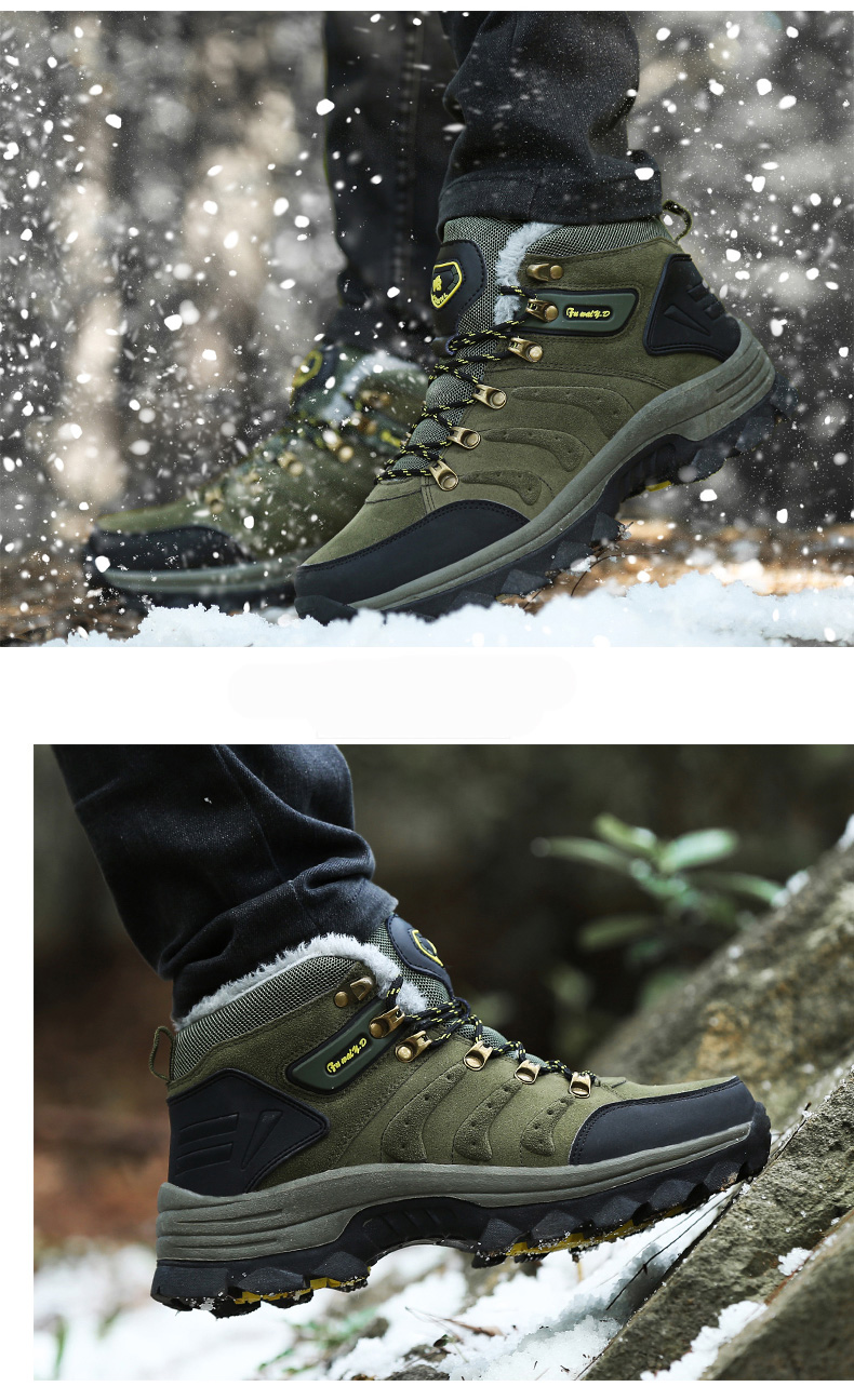 Luxury Men Boots Men Winter Snow Boots Warm Fur&plush Lace Up High Top Work Men Designer Driving Sneakers Male Winter Boots 17