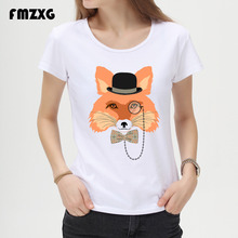 Fox/deer/bear With Glasses Women T Shirt Short Sleeve O-Neck Tops Fashion Cartoon Printed Hip Hop T-Shirt TShirt Tee Shirts A02(China)