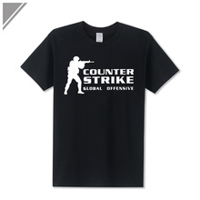 2017 Summer Counter Strike Global CS Gun Print T Shirt Offensive shirts Men Anime Game Team Cotton O Neck Funny T-Shirt Men set(China)