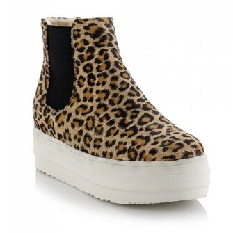 New Sexy Leopard Print Round Toe Platform Martin Boots For Women Slip-On High-Top Casual Shoes Plus Size 31~43<br><br>Aliexpress