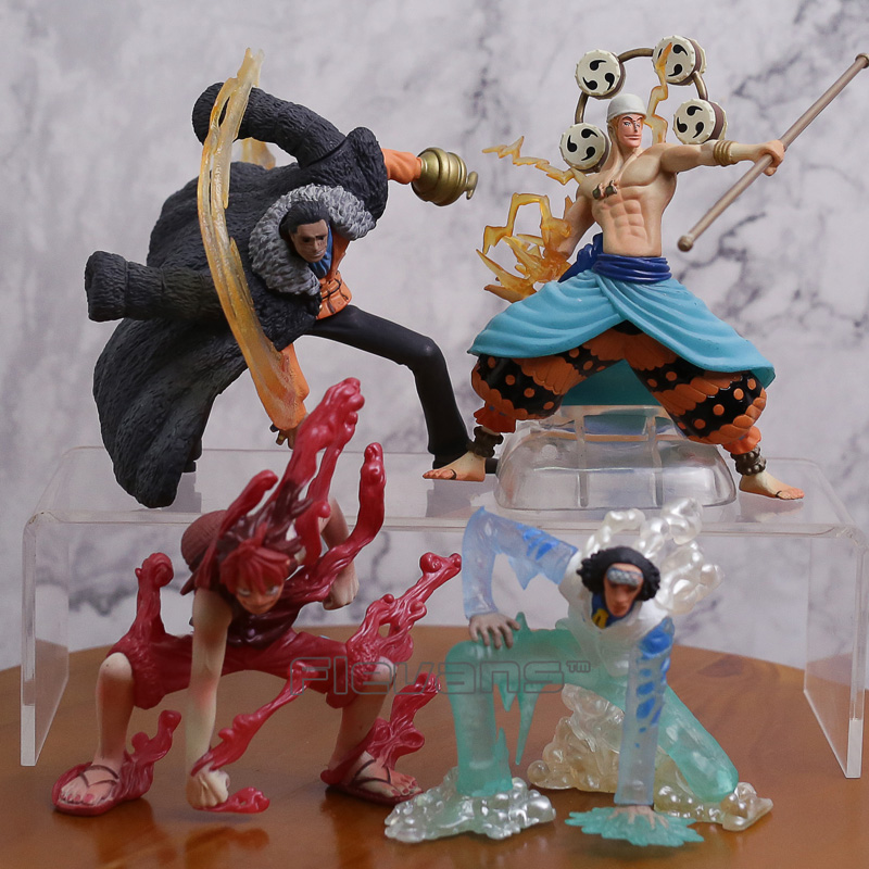 One Piece Luffy Kuzan Sir Crocodile Enel Anime Cartoon PVC Figures Collectible Model Toys Christmas Gift 4pcs/set<br>