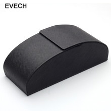 EVECH 2017 Hot Sale Black Leather Metal Arc Hard Case Box For Glasses Eyeglass Sunglasses Spectacles Fashion Accessories