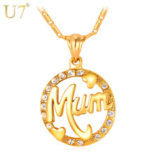 U7 Mothers Day Gifts For Mom Necklace & Pendant Round Rhinestone Crystal Gold Color Women Fashion Name Jewelry Personalized P104(China)