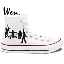 Wen Design Custom Hand Painted Sneakers The Beatles Band Logo Man Woman High Top Canvas Shoes for Birthday Gifts(China)