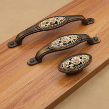 1Pc Bronze Cabinet Knobs Euro-Style Furniture Solid Creative Antique Cupboard Closet Drawer Handle Pulls Bars(China)