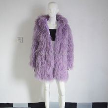 SJ034-01 New Arrival Light Purple Women Beautiful Sheep Fur Overcoats Top Quality Long Length Coats 2017