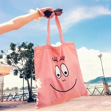 2017 Hot Cute Cartoon Figure Barbapapa Canvas Doll Casual Handbag Shoulder Bags For Girl Women Kids Gifts