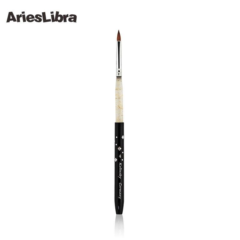 10pcs/set 4# Black 100% Kolinsky Sable Detachable Nail Art Design Brush Acrylic Kolinsky Sable Professional Brush Nail Art<br>