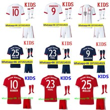 2017 HOT SALES 2018 BEST QUALITY KIDS BAYERNES MUNICHES SOCCER JERSEY KIT + SOCKS 17 18 HOME RED AWAY GRAY CHILD SHIRT(China)