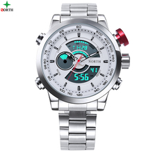 Male Sport Watch Multifunction LED Digital Dual Time Hours Wrist Analog Round 2017 Fashion Casual Quartz Men Sport Wristwatch(China)