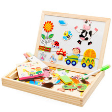 Multifunctional Wooden Toys Educational Magnetic Puzzle Farm Jungle Animal Children Kids Jigsaw Baby Drawing Easel Board(China)
